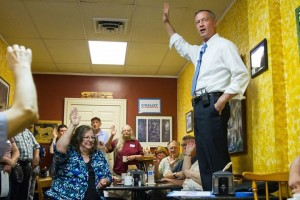 Martin O'Malley speaking to Eastern Iowa Democrats in July of 2015.